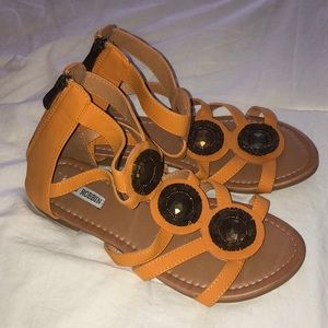 Orange embroidered Sandals